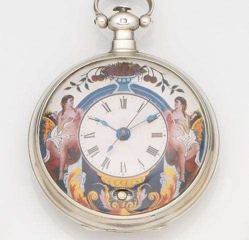 Eeway Fleurier. A silver open face key wind pocket watch with a painted enamel dial made for the Chinese marketCase No.2304, Movement No.304, London Hallmark for 1845