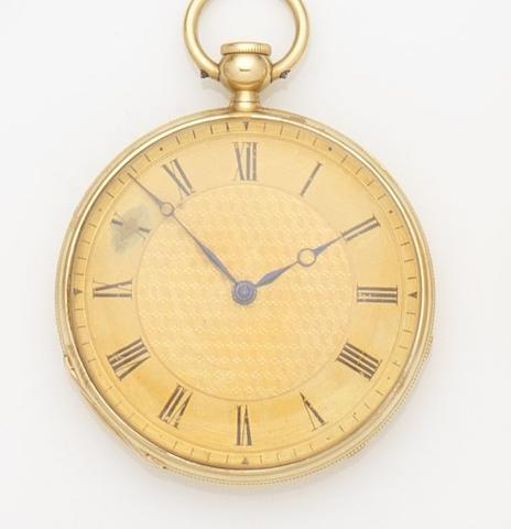 Rob Roskell, Liverpool. An 18ct gold key wind quarter repeating pocket watch Case No.51817, Circa 1840