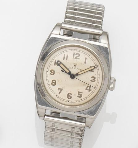 Rolex. A stainless steel manual wind bracelet watchOyster, Circa 1940