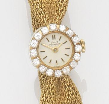 Girard Perregaux. A lady's 18ct gold and diamond set manual wind bracelet watchCirca 1960