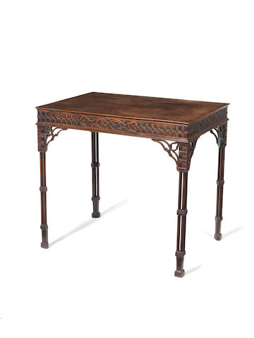 George III mahogany silver table