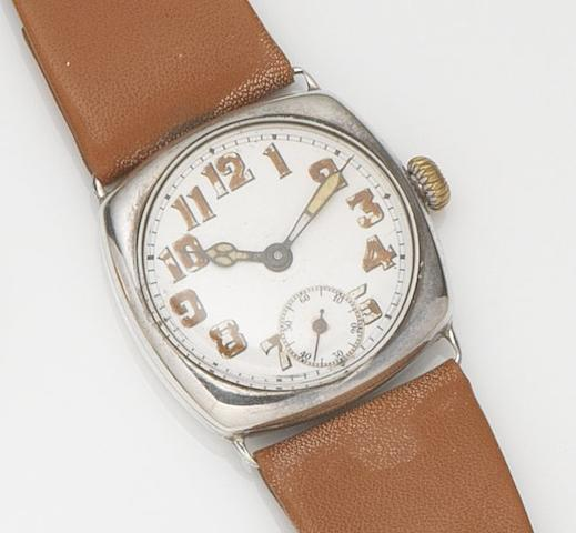Rolex. A silver manual wind wristwatchCase No.1074826, London Hallmark for 1918