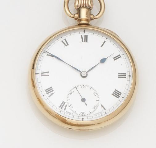 Unsigned. A 9ct gold keyless wind open face pocket watch Case No.368744, Birmingham Hallmark for 1927