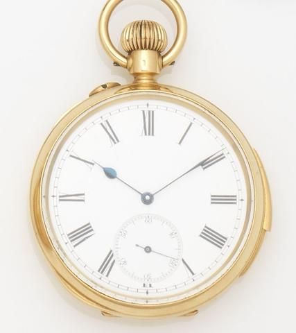 Swiss. An 18ct gold keyless wind open face quarter repeating pocket watch Case No.690424, Circa 1910
