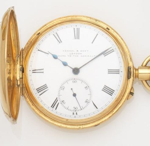 Kendal & Dent. An 18ct gold keyless wind half hunter pocket watch Case No.551, Movement No.735448, Glasgow Hallmark for 1919