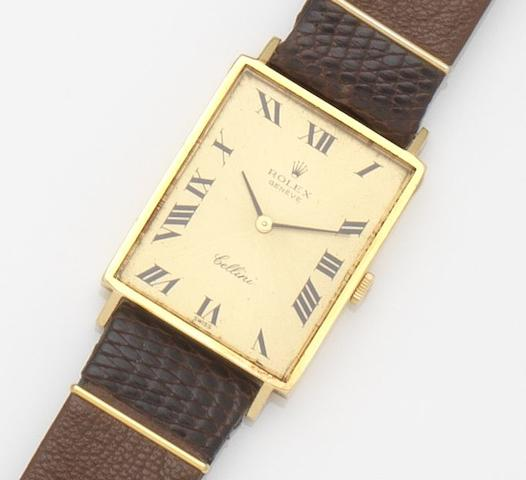Rolex. An 18ct gold manual wind wristwatch Cellini, Ref:3999, Case No.3766***, Circa 1960