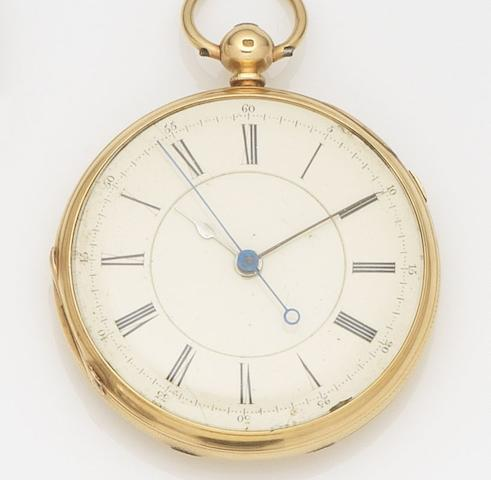 Unsigned. An interesting 18ct gold open face chronograph pocket watch presented to John Burnett, leader of the Nine Hour LeagueCase and Movement No.54800, Chester Hallmark for 1871