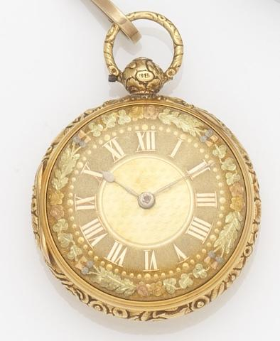 M & E Emanuel. An 18ct gold key wind open face pocket watch together with chain, fob and keyCase No.052, Movement No.6052, London Hallmark for 1779