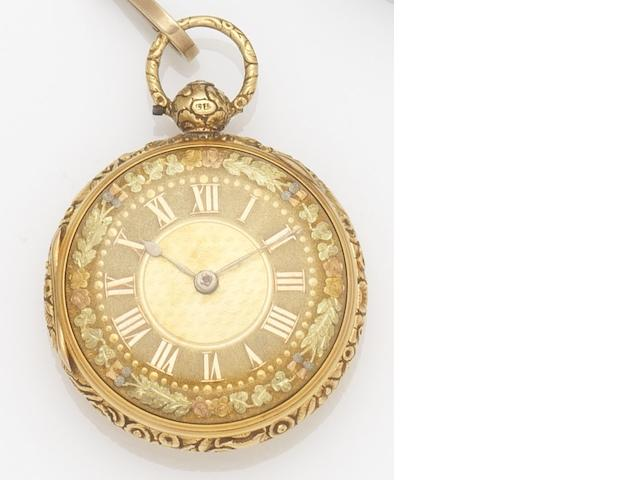 M & E Emanuel. An 18ct gold key wind open face pocket watch together with chain, fob and key Case No.052, Movement No.6052, London Hallmark for 1779