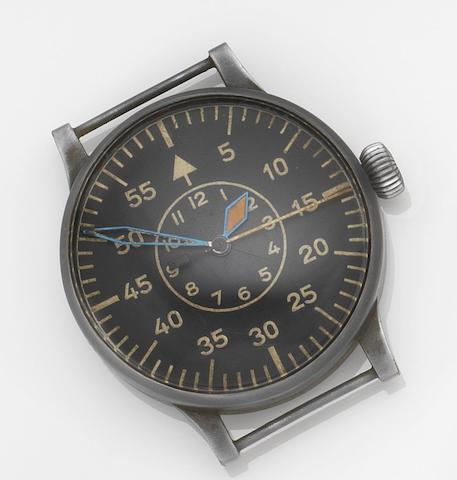 Laco. A rare oversized German military issue observation wristwatchCase No.23883, Circa 1940