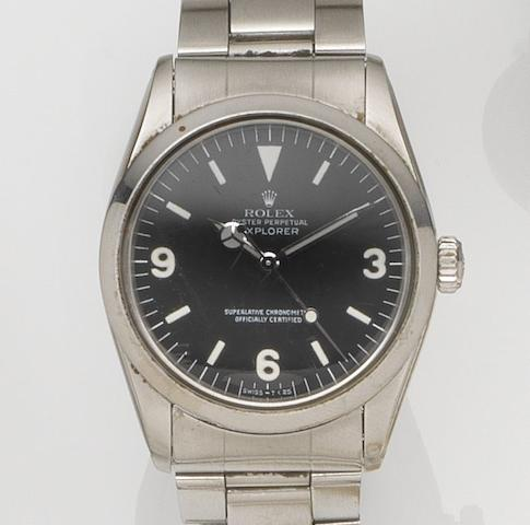 Rolex. A stainless steel automatic centre seconds bracelet watch with box and papersExplorer, Ref:1016, Case No.4401***, Movement No.488***, Circa 1975