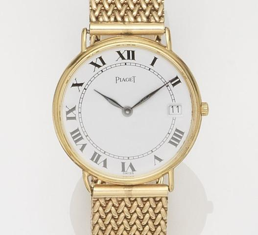 Piaget. An 18ct gold quartz calendar bracelet watchQuartz, Ref:15068, Case No.496181, Circa 1990