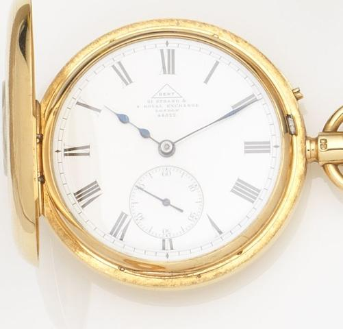 Dent, Strand & Royal Exchange. An 18ct gold keyless wind half hunter pocket watch Case and Movement No.44522, London Hallmark for 1909