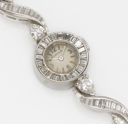 Blancpain. A lady's platinum and diamond set bracelet watch Circa 1955