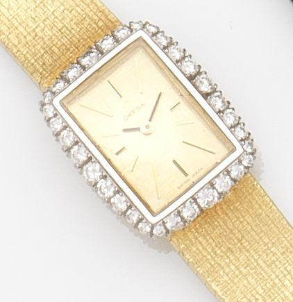 Omega. A lady's 18ct gold and diamond set manual wind bracelet watch Ref:8101, Case No.A93071, Movement No.27304381, Circa 1970