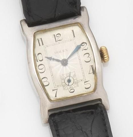 Rolex. A silver cased manual wind wristwatchCase No.6140, Movement No.10193, Glasgow Hallmark for 1928