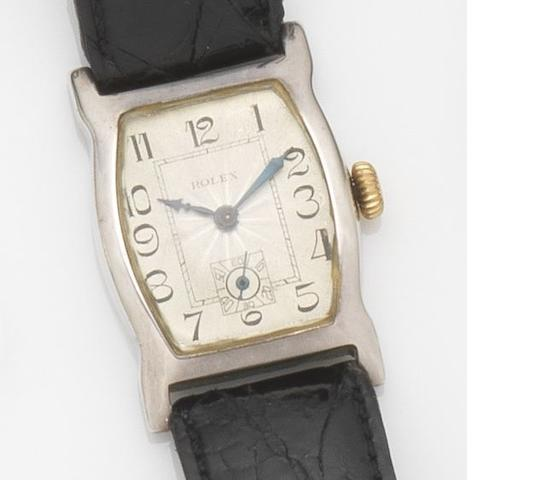 Rolex. A silver cased manual wind wristwatch Case No.6140, Movement No.10193, Glasgow Hallmark for 1928