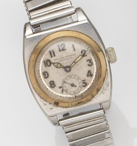 Rolex. A stainless steel and gold manual wind bracelet watchOyster Imperial Viceroy, Ref:1573, Circa 1930
