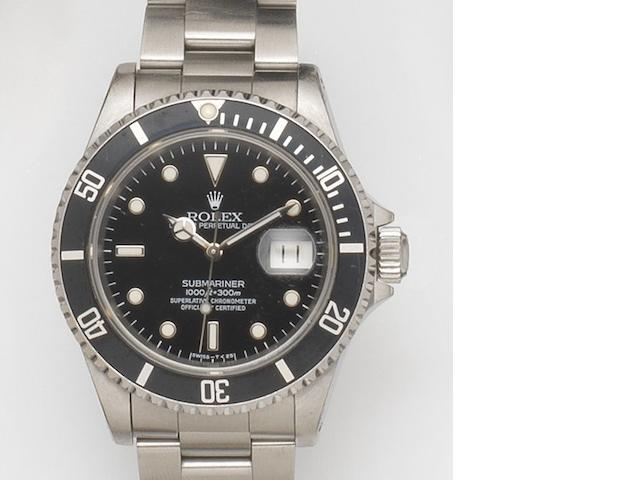 Rolex. A stainless steel automatic calendar bracelet watch Submariner, Ref:16610, Case No.S503***, Movement No.6772***, Recent
