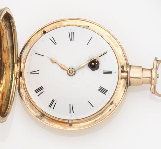 Litherland & Co. An 18ct gold full hunter pocket watch Movement No.3721, Chester Hallmark for 1805