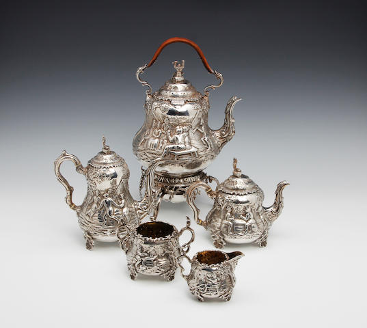 A Victorian five piece tea and coffee service by John Figg, London 1880