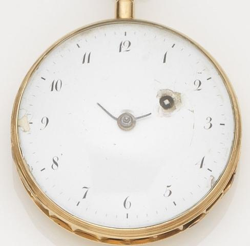 Unsigned. A continental gold key wind open face quarter repeating pocket watchCase No.3497, Circa 1820