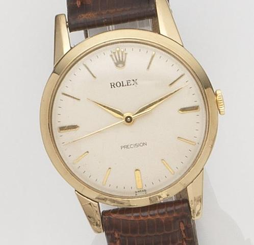 Rolex. A 9ct gold manual wind wristwatchPrecision, Case No.17816, Edinburgh Hallmark for 1960