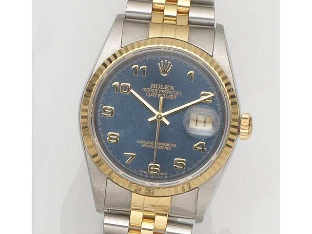 Rolex. A stainless steel and gold automatic calendar bracelet watch Datejust, Ref:16233, Case No.F356***, Movement No.39833***, Circa 2003