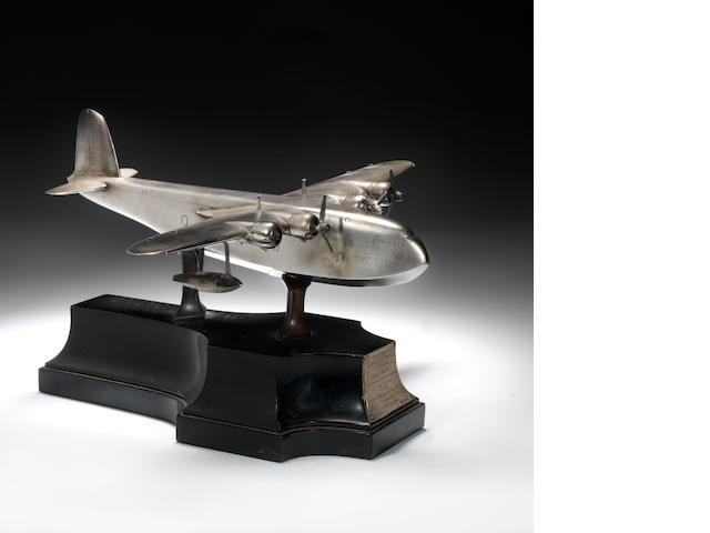 "A silver model of Short Empire Flying Boat ""Cambria"", London, 1937,"
