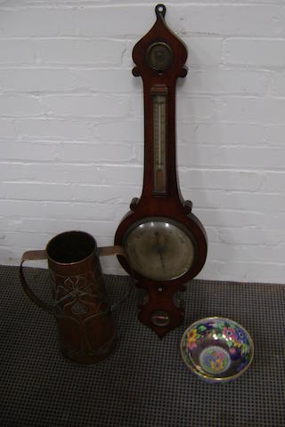 A mid 19th century wall barometer with 'onion' pattern case (distressed) together with a Maling ware flower decorated bowl, 21cm diameter and an Art Nouveau tall beater copper vase 41cm high (3)