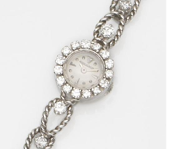 Jaeger-LeCoultre. A lady's 18ct white gold and diamond set manual wind bracelet watch Circa 1960