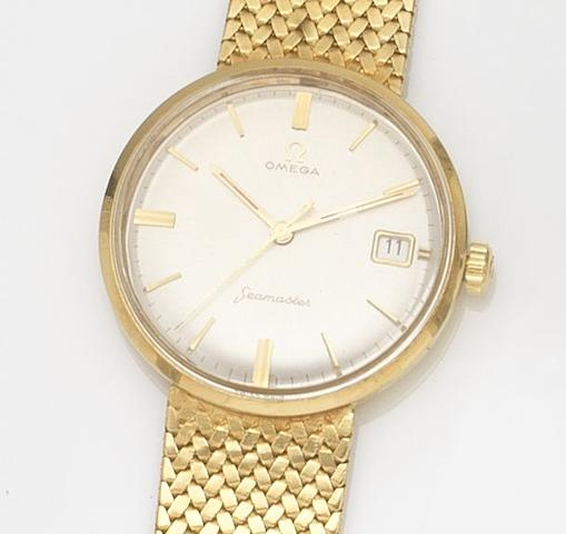 Omega. An 18ct gold manual wind calendar bracelet watchSeamaster, Circa 1960