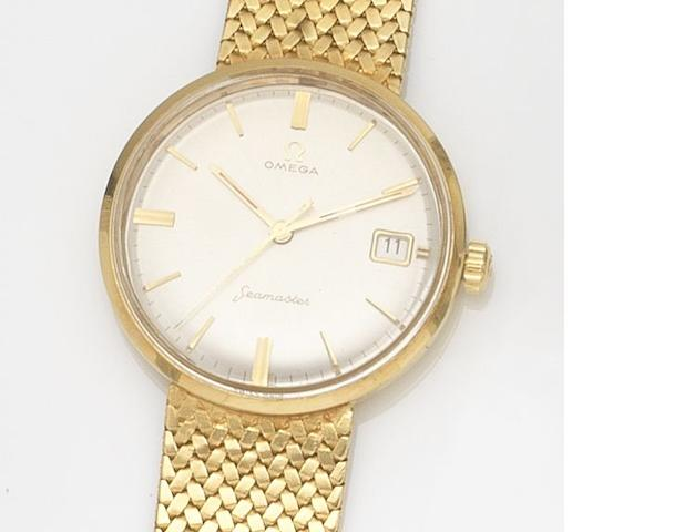 Omega. An 18ct gold manual wind calendar bracelet watch Seamaster, Circa 1960