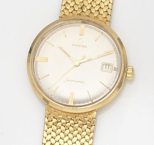 Omega. An 18ct gold manual wind calendar bracelet watch Seamaster, Circa 1960