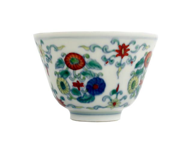A doucai cup  Yongzheng six-character mark