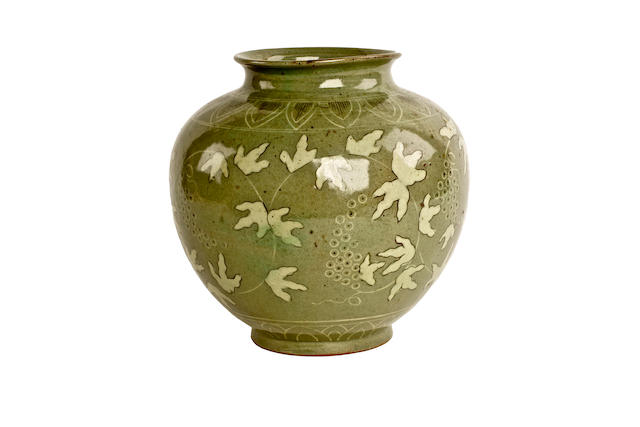 A Korean inlaid celadon jar