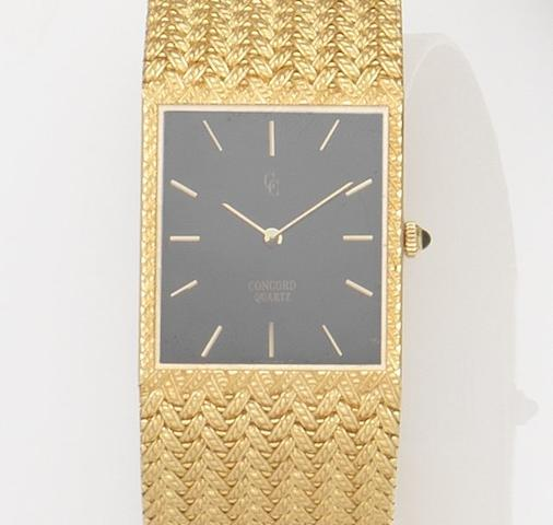 Concord. An 18ct gold quartz bracelet watch Case No.552263, Circa 1980