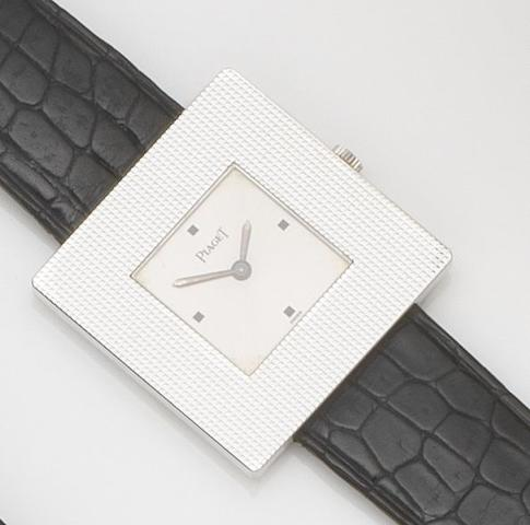 Piaget. An 18ct white gold manual wind wristwatchRef:99014, Case No.276319, Movement No.7614803, Sold 13th December 1979