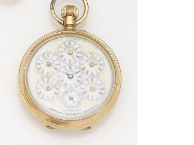 Swiss. A gilt metal keyless wind world time open face pocket watch Case No.317834, Circa 1890