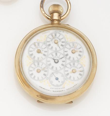 Swiss. A gilt metal keyless wind world time open face pocket watch Case No.317834, Circa 1890