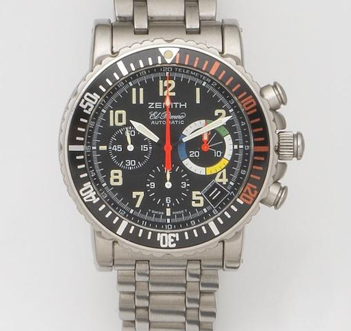 Zenith. A stainless steel automatic chronograph calendar bracelet watchEl Primero Rainbow Flyback, Ref:02.480.405, Movement No.118564, Recent