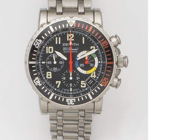 Zenith. A stainless steel automatic chronograph calendar bracelet watch El Primero Rainbow Flyback, Ref:02.480.405, Movement No.118564, Recent