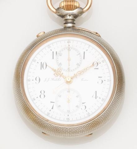 J.J. Badollet. A silver keyless wind open face split second chronograph pocket watch Case No.90110, Circa 1900
