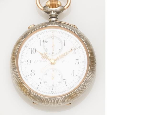 J.J. Badollet. A silver keyless wind open face split second chronograph pocket watch Case No.90110, Circa 1900
