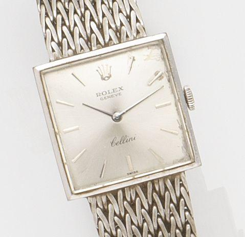 Rolex. A lady's 18ct white gold manual wind bracelet watch Cellini, Ref:610, Case No.1159***, Circa 1964