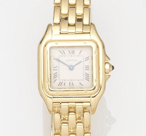 Cartier. A lady's 18ct gold quartz bracelet watch with box and papersPanthére, Ref:00380, Case No.8057929C, Sold 13th September 1993