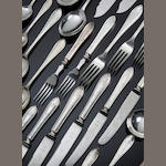 A silver bright-cut Sandringham pattern cutlery service for twelve settings by Viners, Sheffield 1957/58