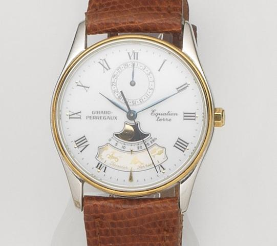 Girard-Perregaux. A stainless steel quartz centre seconds calendar wristwatch with Zodiac indicator Equation Terre, Case No.4842, Movement No.T482, Circa 1990