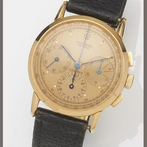 Universal. An 18ct gold manual wind chronograph wristwatch , Circa 1945