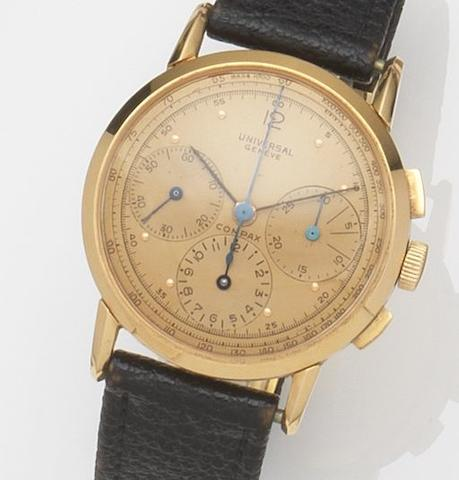 Universal. An 18ct gold manual wind chronograph wristwatch, Circa 1945